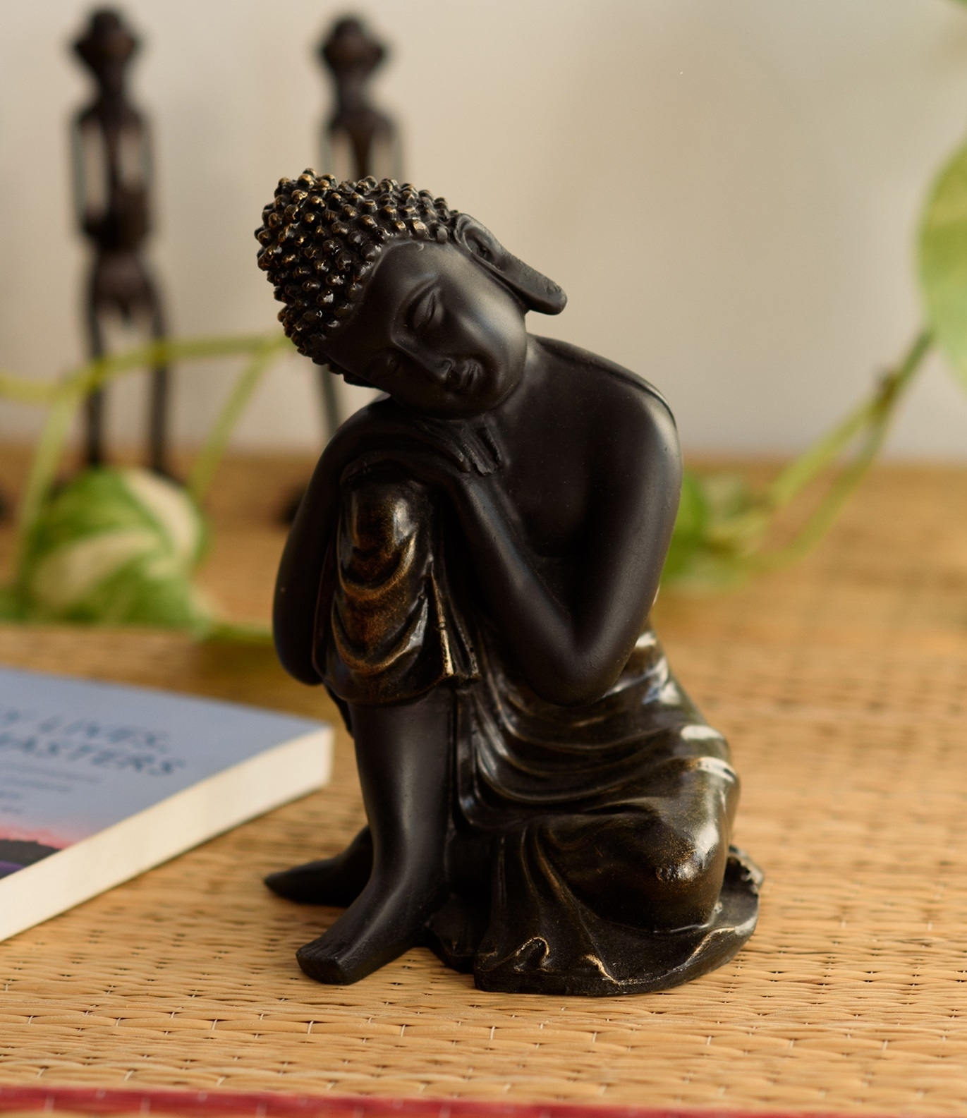 Handcrafted Antique Finish Knee Buddha Indian Home Decor