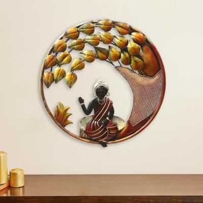 Decorative Lord Buddha with Leaves Handcrafted Iron Wall Hanging Indian Home Decor