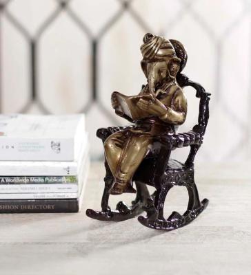 Brass Lord Ganesha on Rocking Chair Antique Showpiece Indian Home Decor