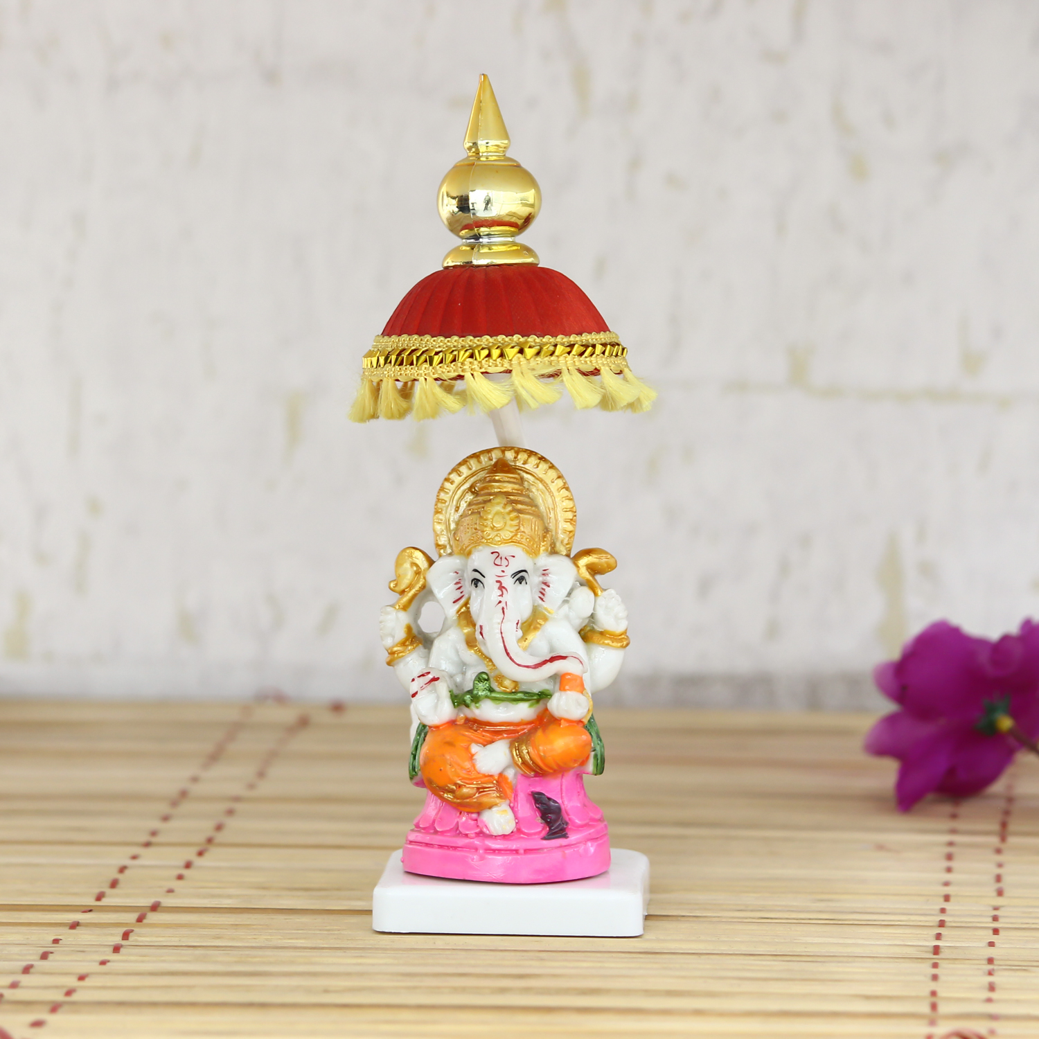 Decorative Lord Ganesha Showpiece with Chatri for Car Dashboard, Home Temple and Office Desks Indian Home Decor