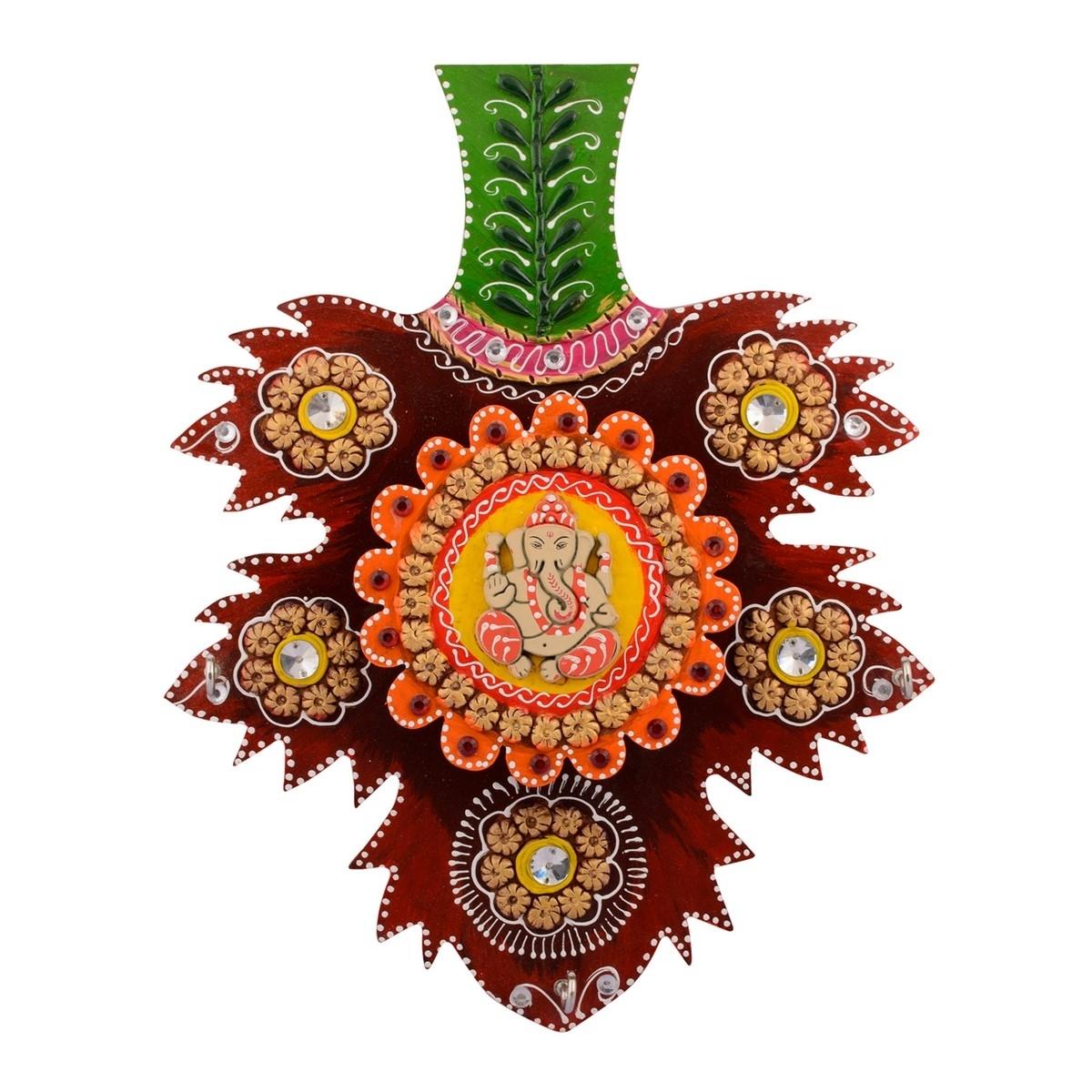 Wooden Papier Mache Decorative Lord Ganesha Key Holder Indian Home Decor