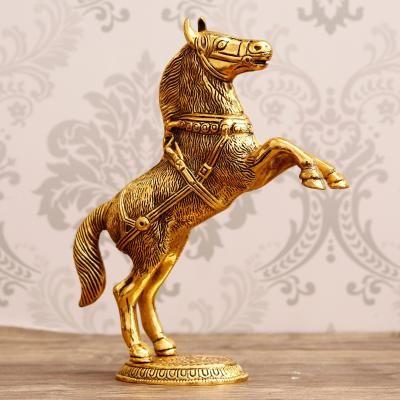 Golden Jumping Horse Metal Animal Figurine Decorative Showpiece Indian Home Decor