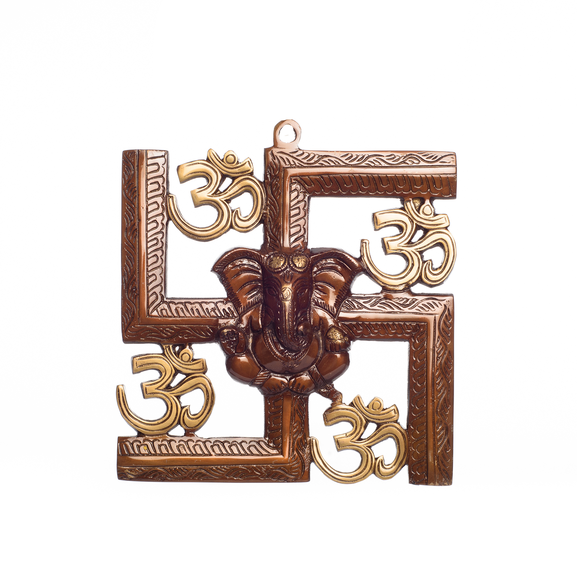 Swastika Om Ganesha Brass Wall Hanging Indian Home Decor