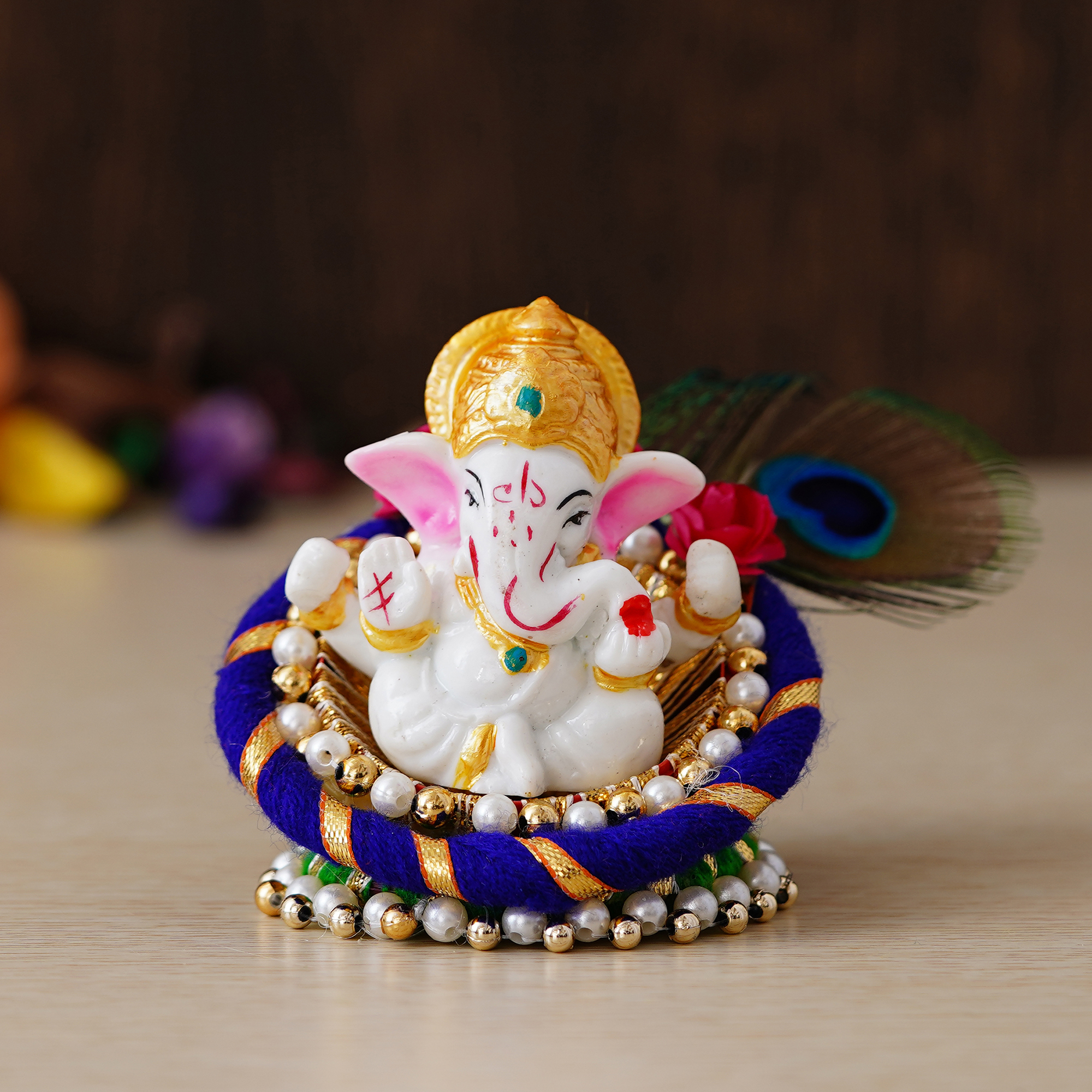 Lord Ganesha Idol on Decorative Handcrafted Floral Plate for Home and Car Indian Home Decor