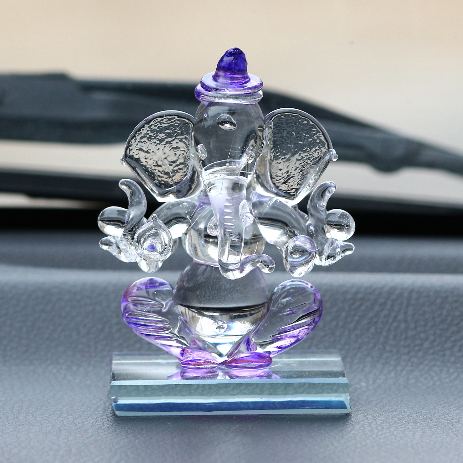 Purple and Transparent Double Sided Crystal Car Ganesha Showpiece Indian Home Decor