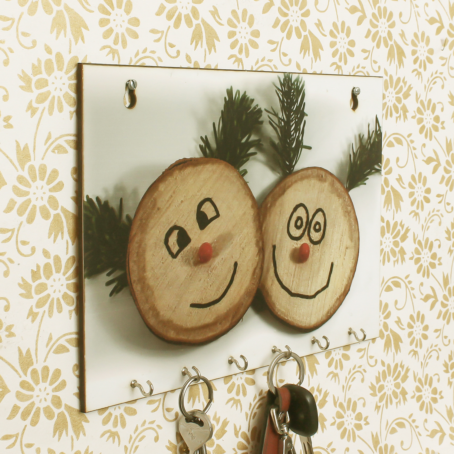 Smilie Theme Wooden Key Holder with 6 Hooks Indian Home Decor