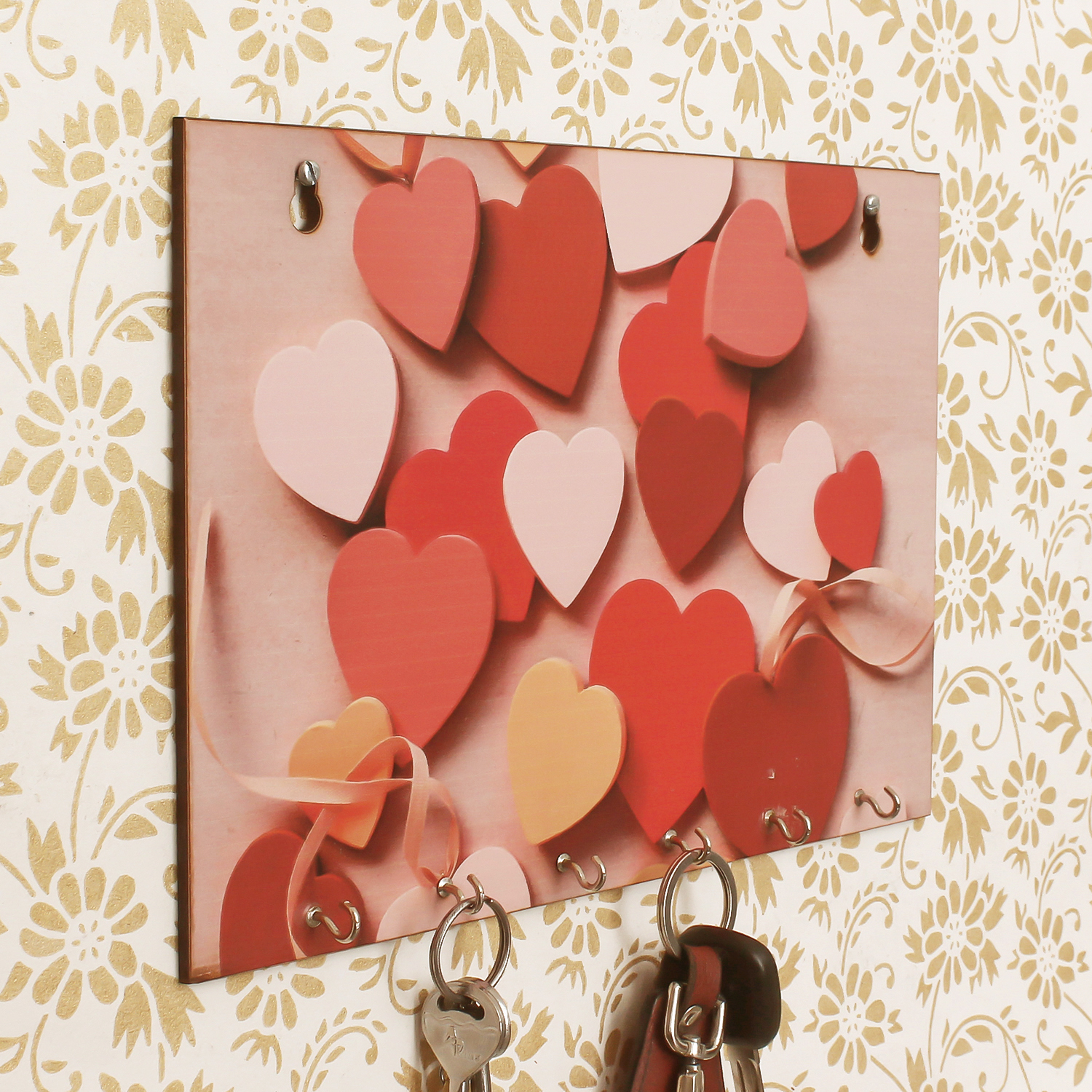 Heart Theme Wooden Key Holder with 6 Hooks Indian Home Decor