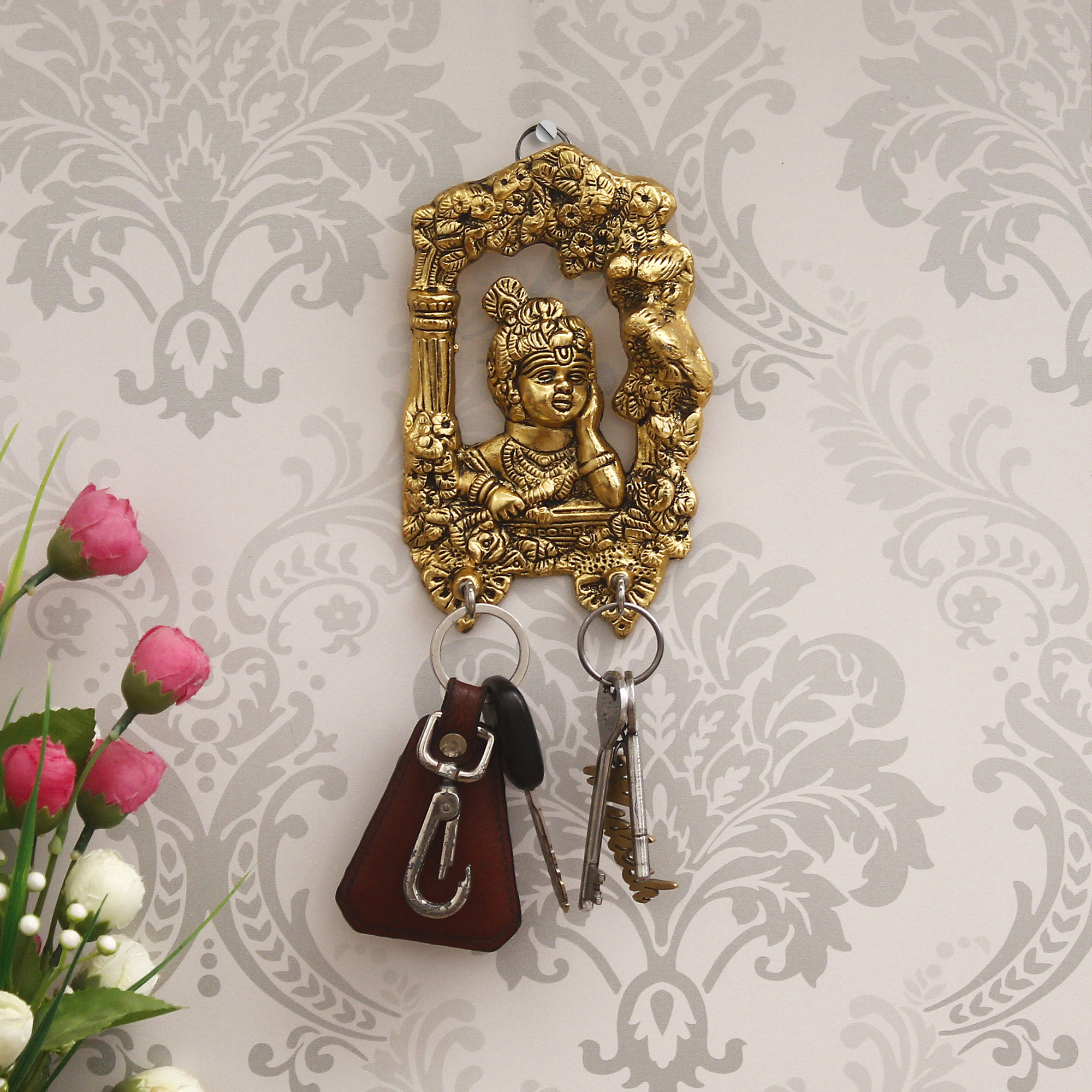 Golden Lord Krishna 2 Hooks Key Holder Indian Home Decor