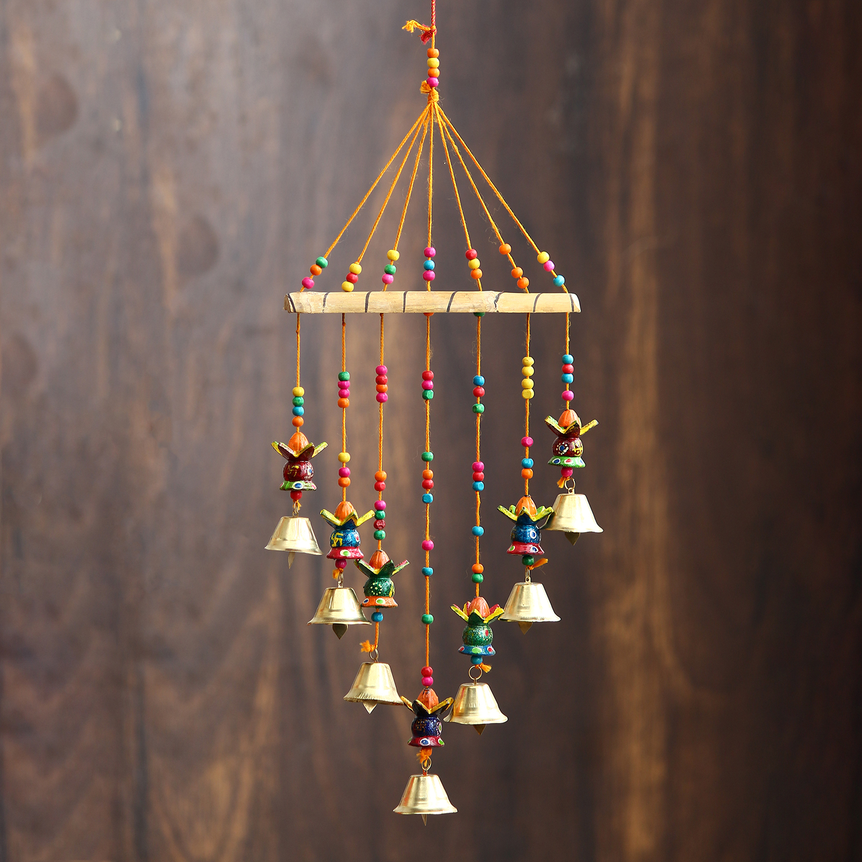 Handcrafted Decorative Kalash Wall/Door/Window Hanging Bells Indian Home Decor