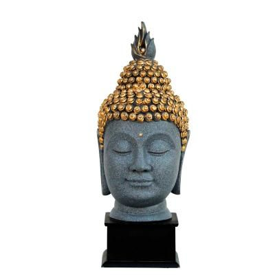 Gray Golden Handcrafted Lord Buddha Head with Stand Indian Home Decor