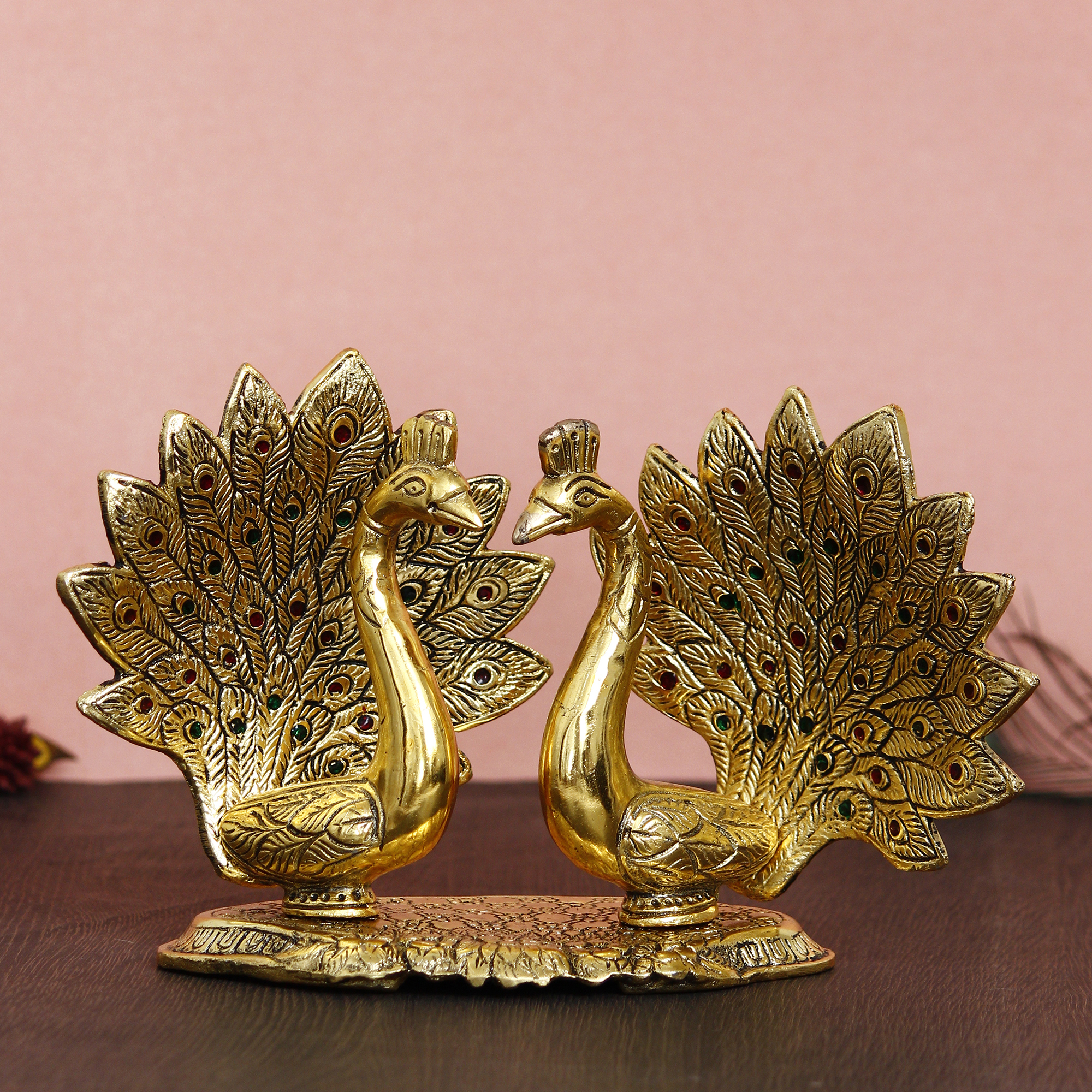 Loving Golden Swan with Feather Couple 6Inch Decorative Metal Figurine Indian Home Decor