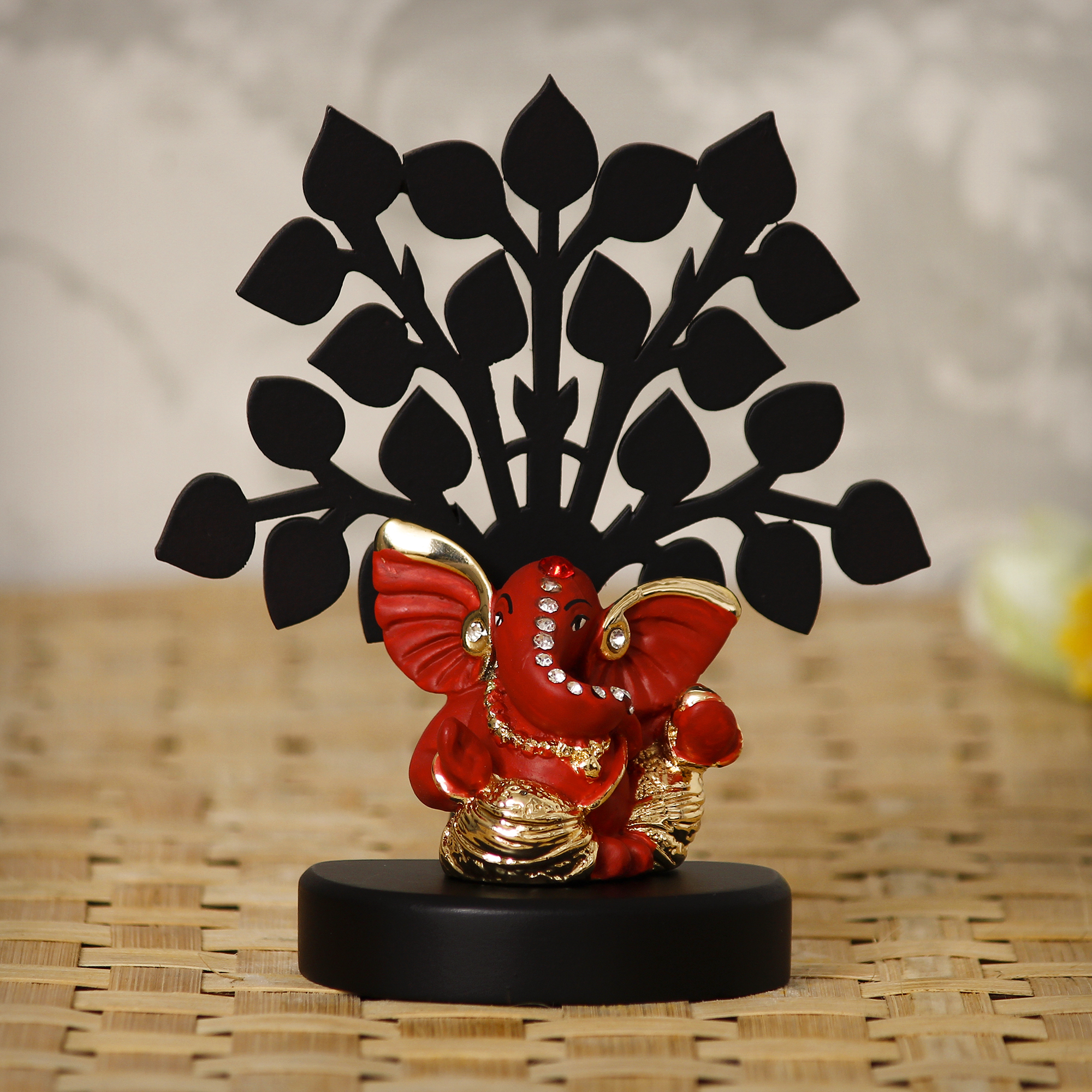 Gold Plated Orange Mini Kaan Ganesha Decorative Showpiece with Wooden Tree for Home/Temple/Office/Car Dashboard Indian Home Decor