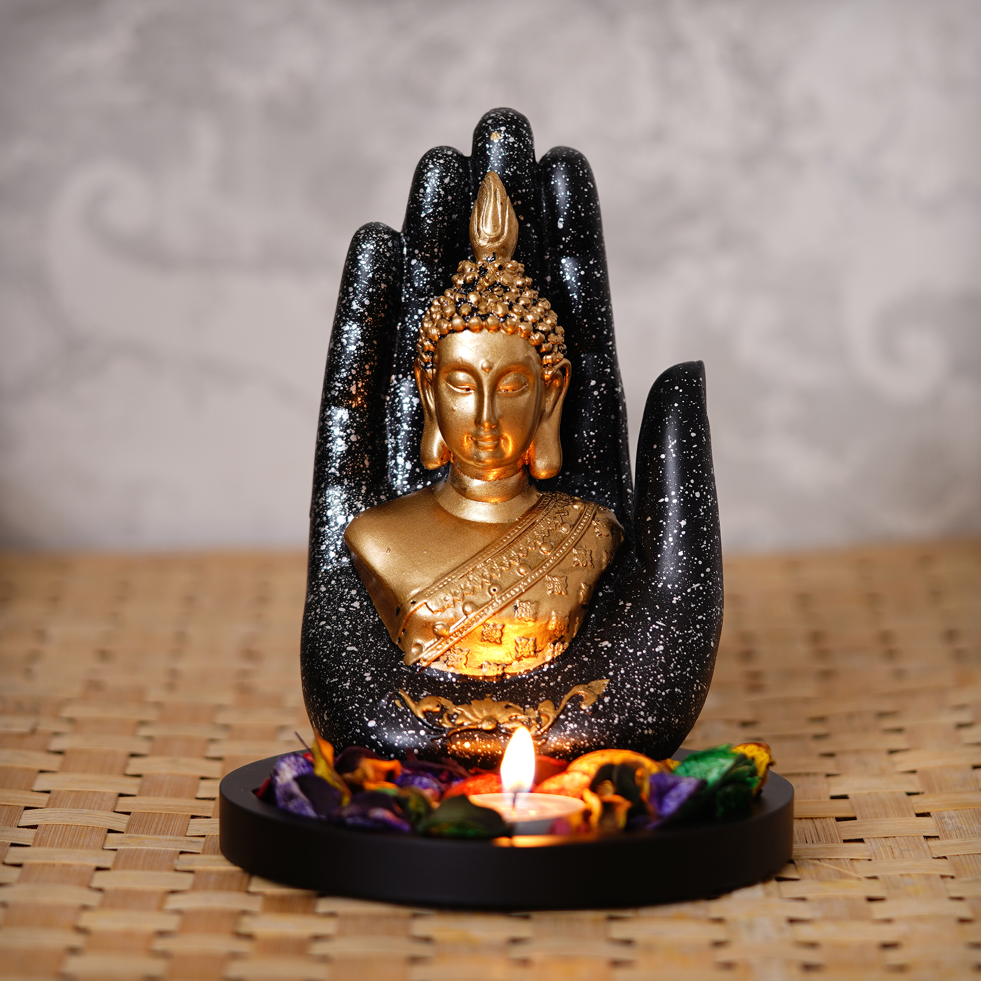 Golden Silver Handcrafted Palm Buddha with Wooden Base, Fragranced Petals and Tealight Indian Home Decor