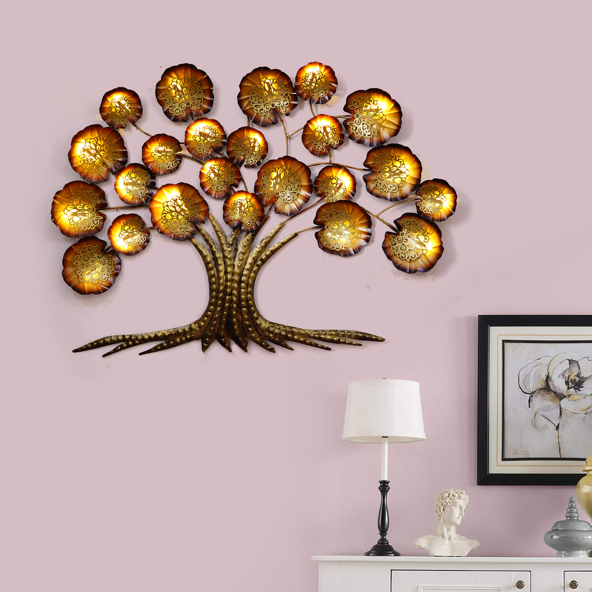 Golden Beautiful Leaves Tree Handcrafted Iron Wall Hanging with background LEDs Indian Home Decor
