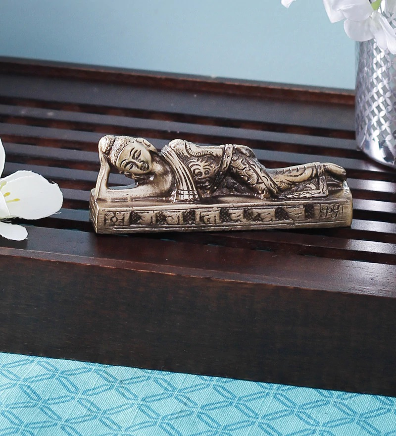 Brass Reclining Buddha Indian Home Decor