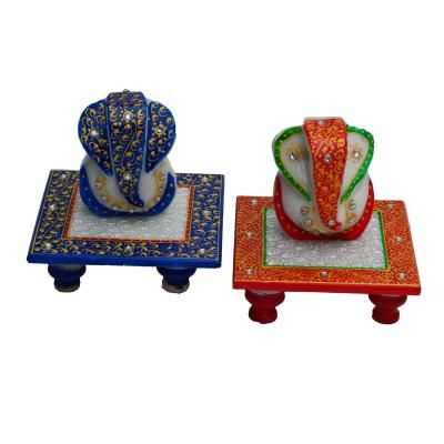 Set of Ridhi Sidhi Marble Chowkis(Red and Blue) Indian Home Decor