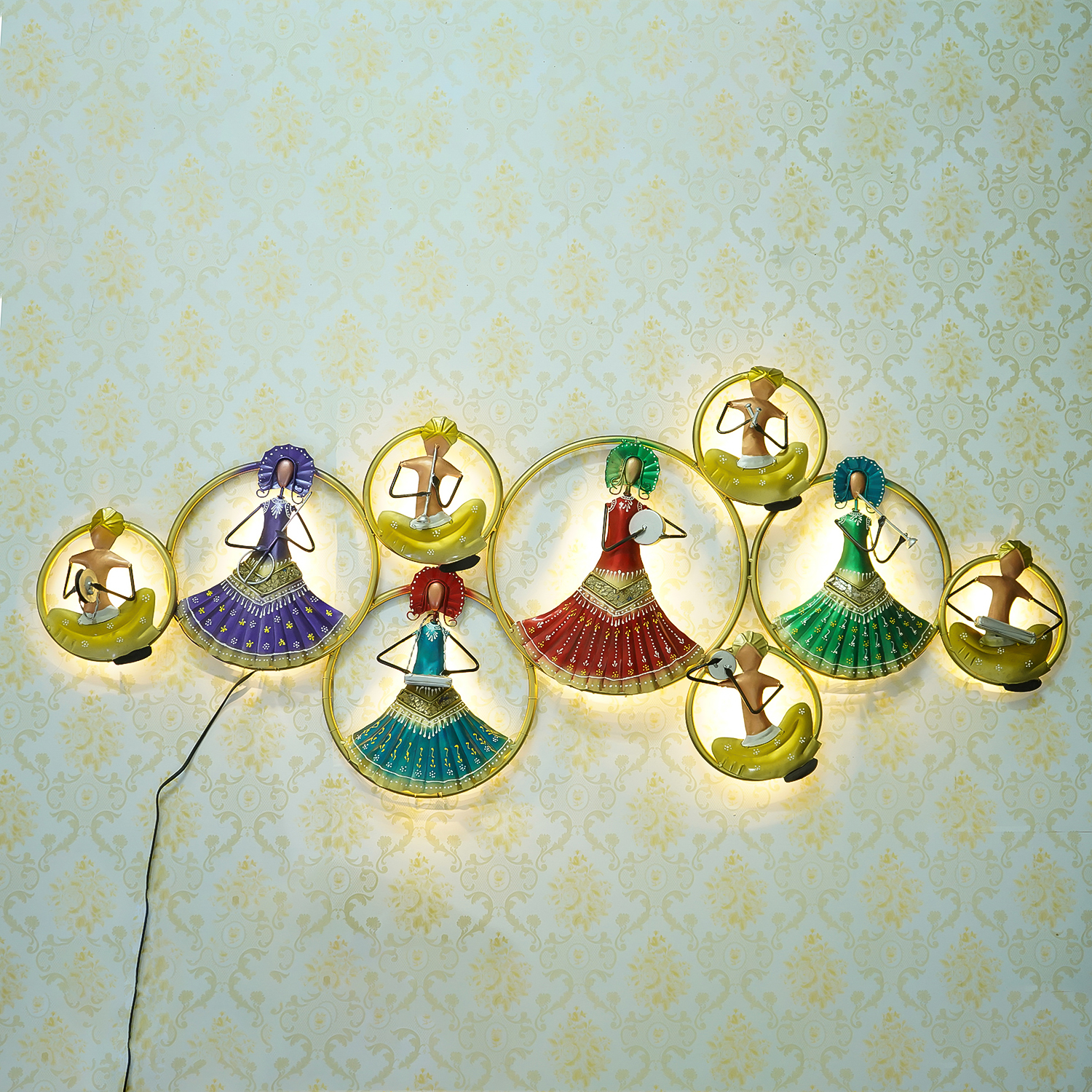 Group of Dancing Tribal Women Handcrafted Iron Wall Hanging with background LEDs Indian Home Decor