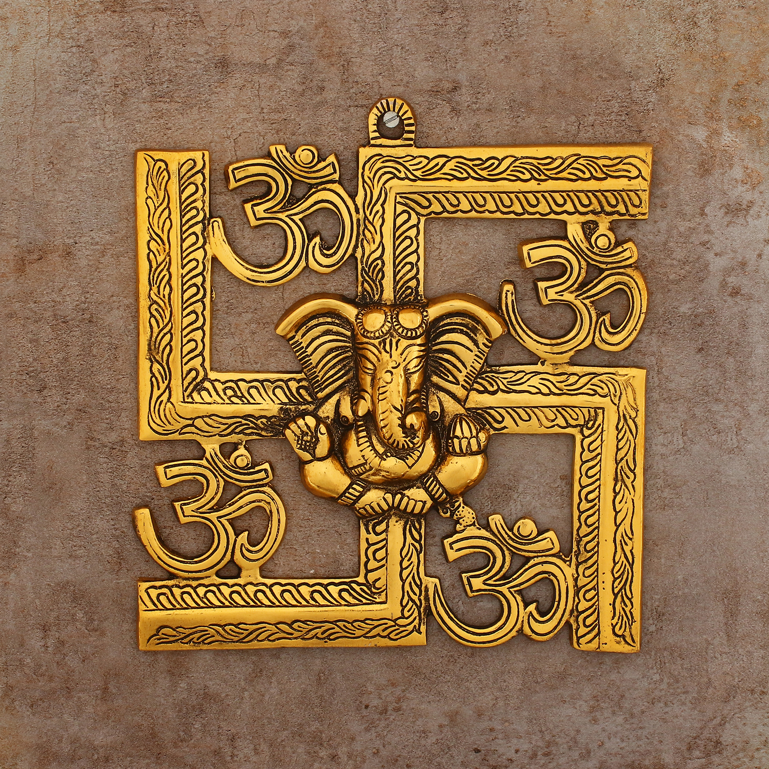 Lord Ganesha on Om Swastik Metal Golden Wall Hanging Indian Home Decor