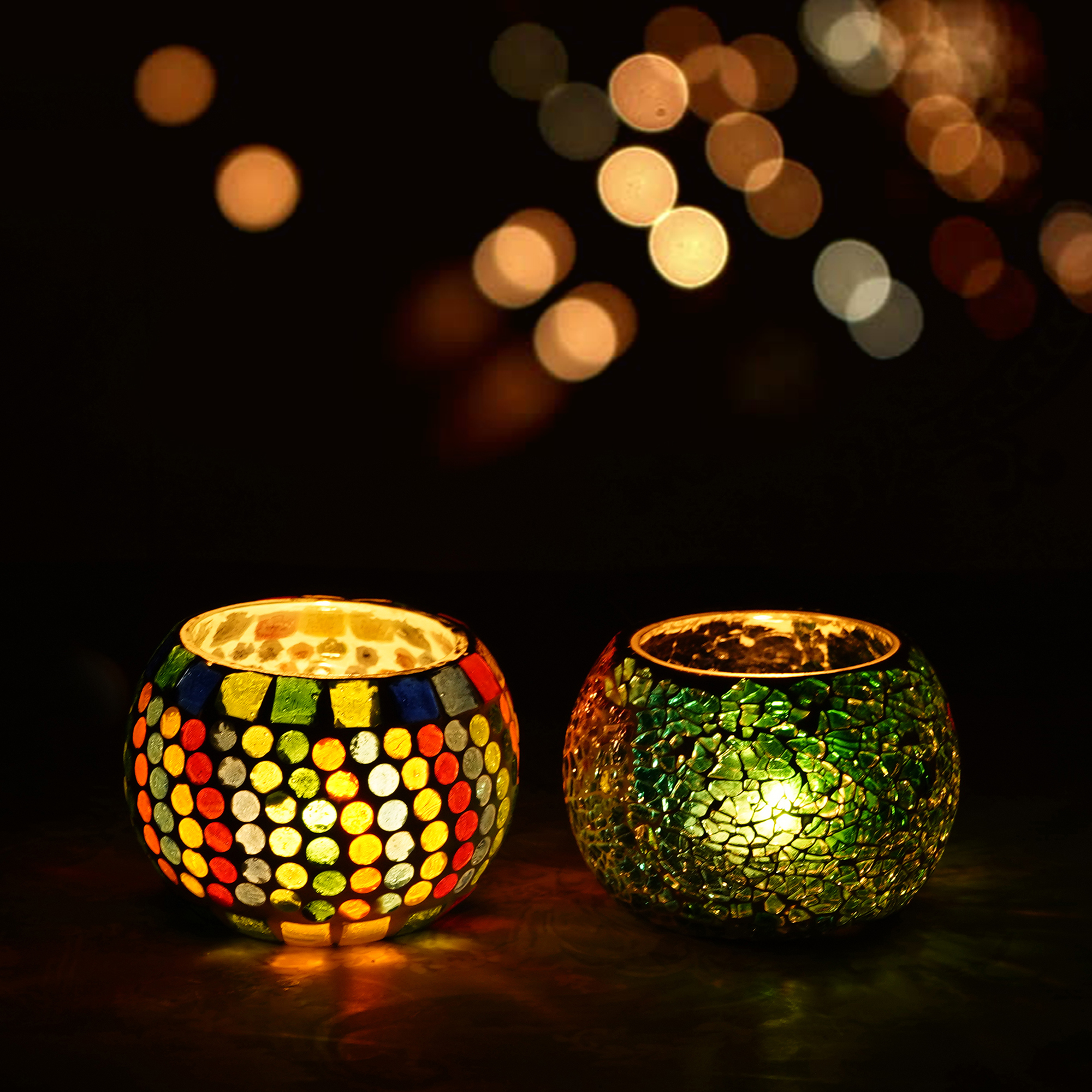 Set of 2 Mosiac Glass Decorative Tea Light Holder/Diya Indian Home Decor