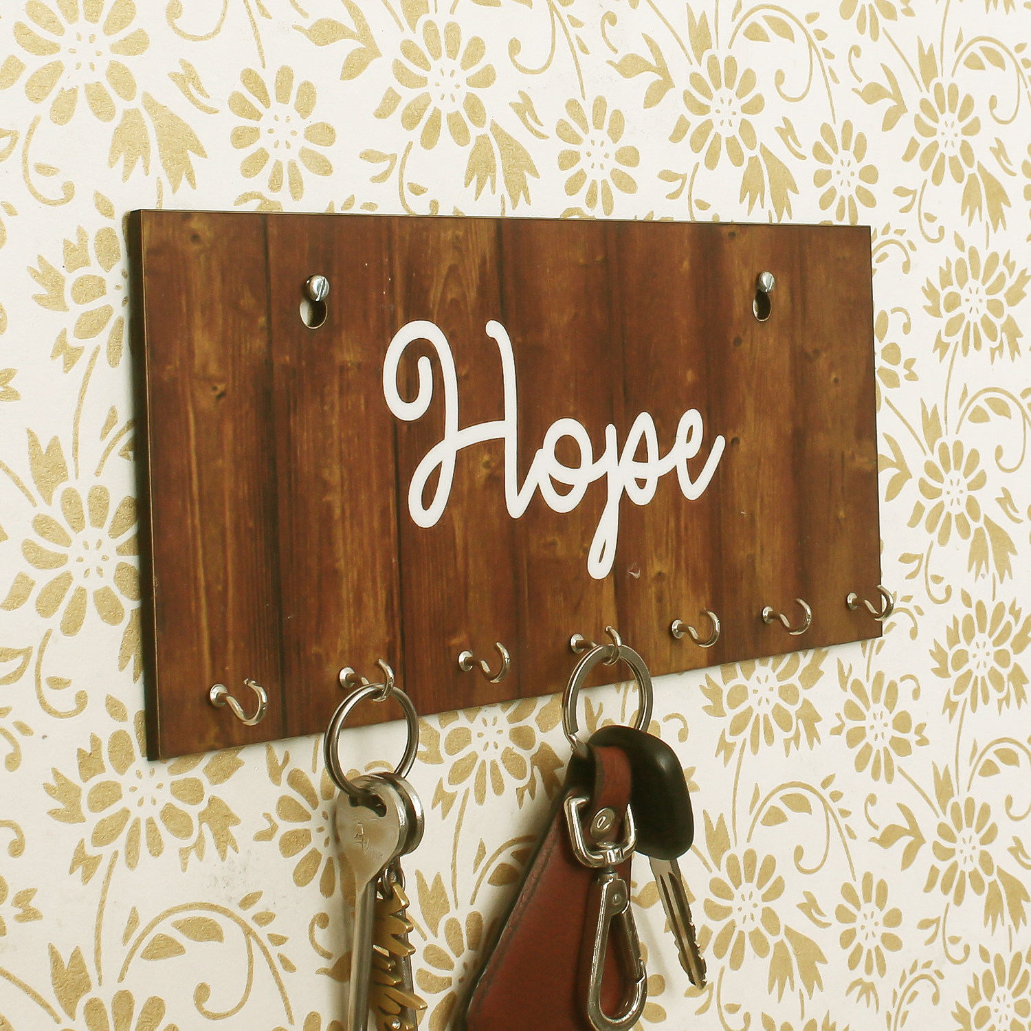 Hope Theme Wooden Key Holder with 7 Hooks Indian Home Decor