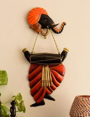 Lord Ganesha playing Dholak Wall Hanging Indian Home Decor