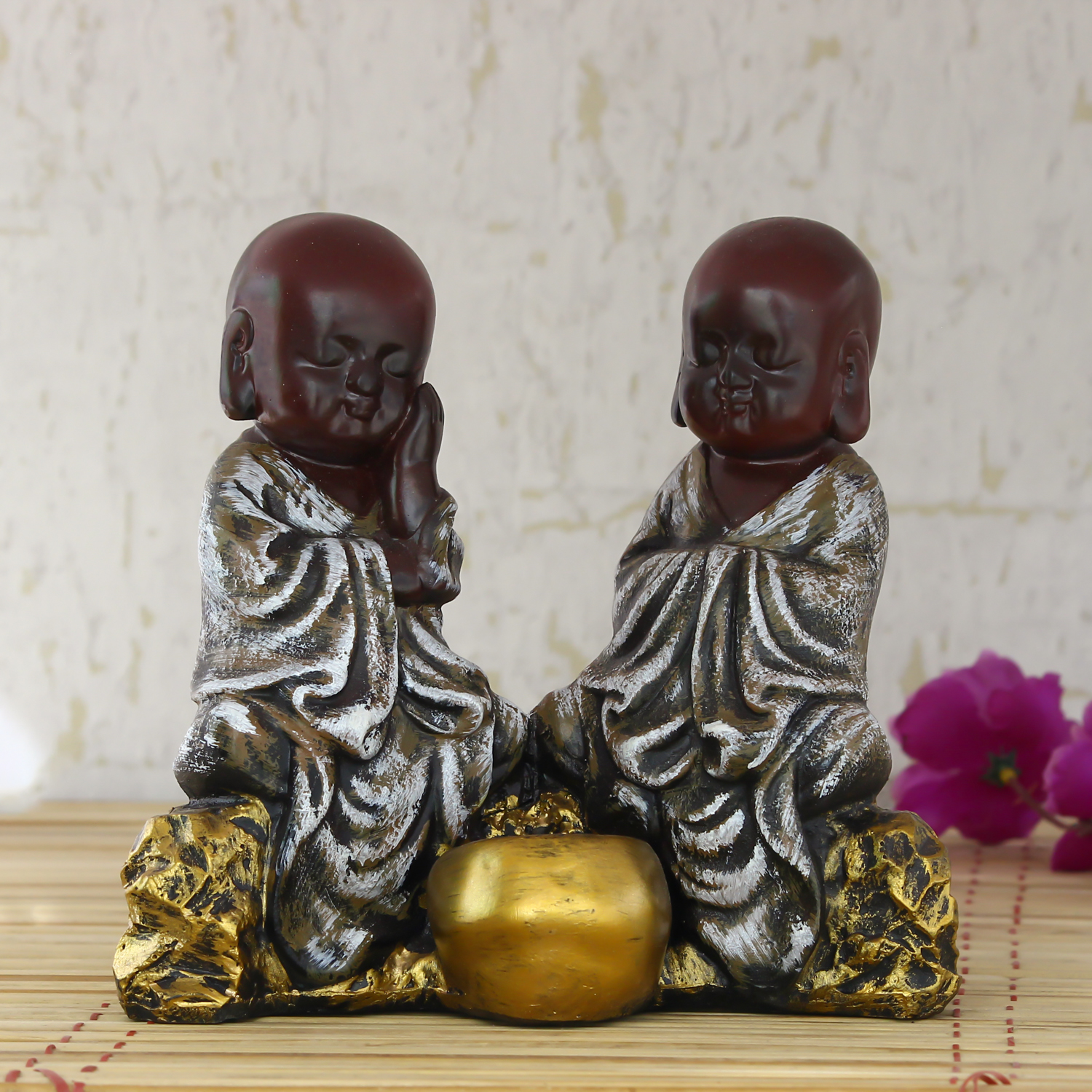 Set of 2 Brown Monks Polyresin Tealight Holder Indian Home Decor