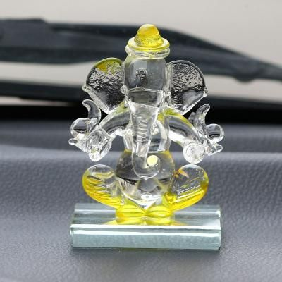 Yellow and Transparent Double Sided Crystal Car Ganesha Showpiece Indian Home Decor