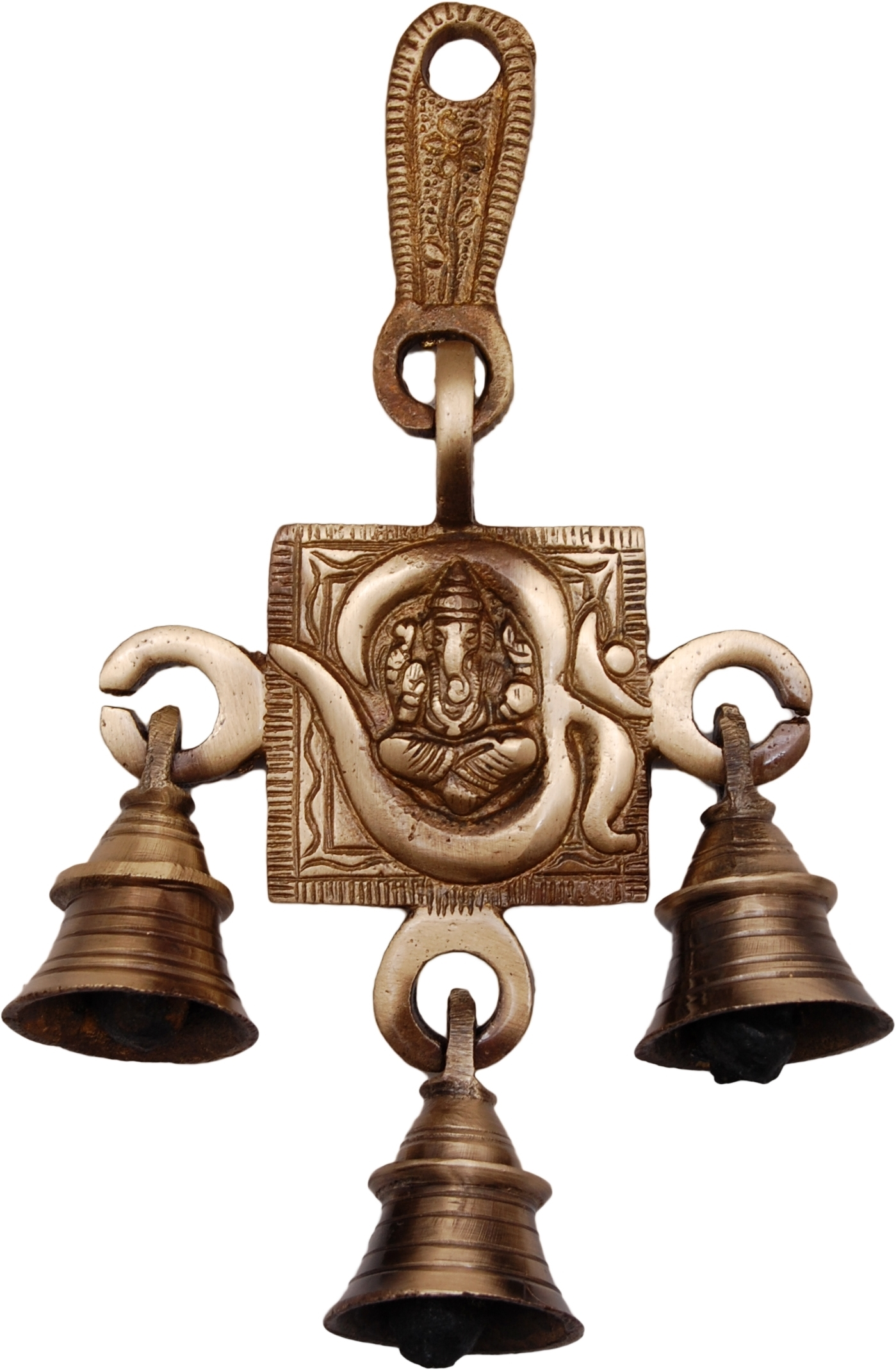 Brass Om Ganesh Hanging Bells Indian Home Decor