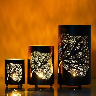 Set of 3 Decorative Mesh Design er Leafs Iron Tea Light Holder in Cylindrical shape Indian Home Decor