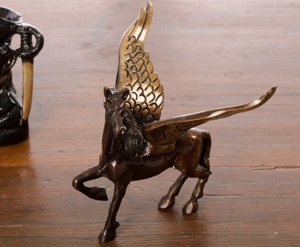 Brass Antique Finish Flying Angel Horse Indian Home Decor