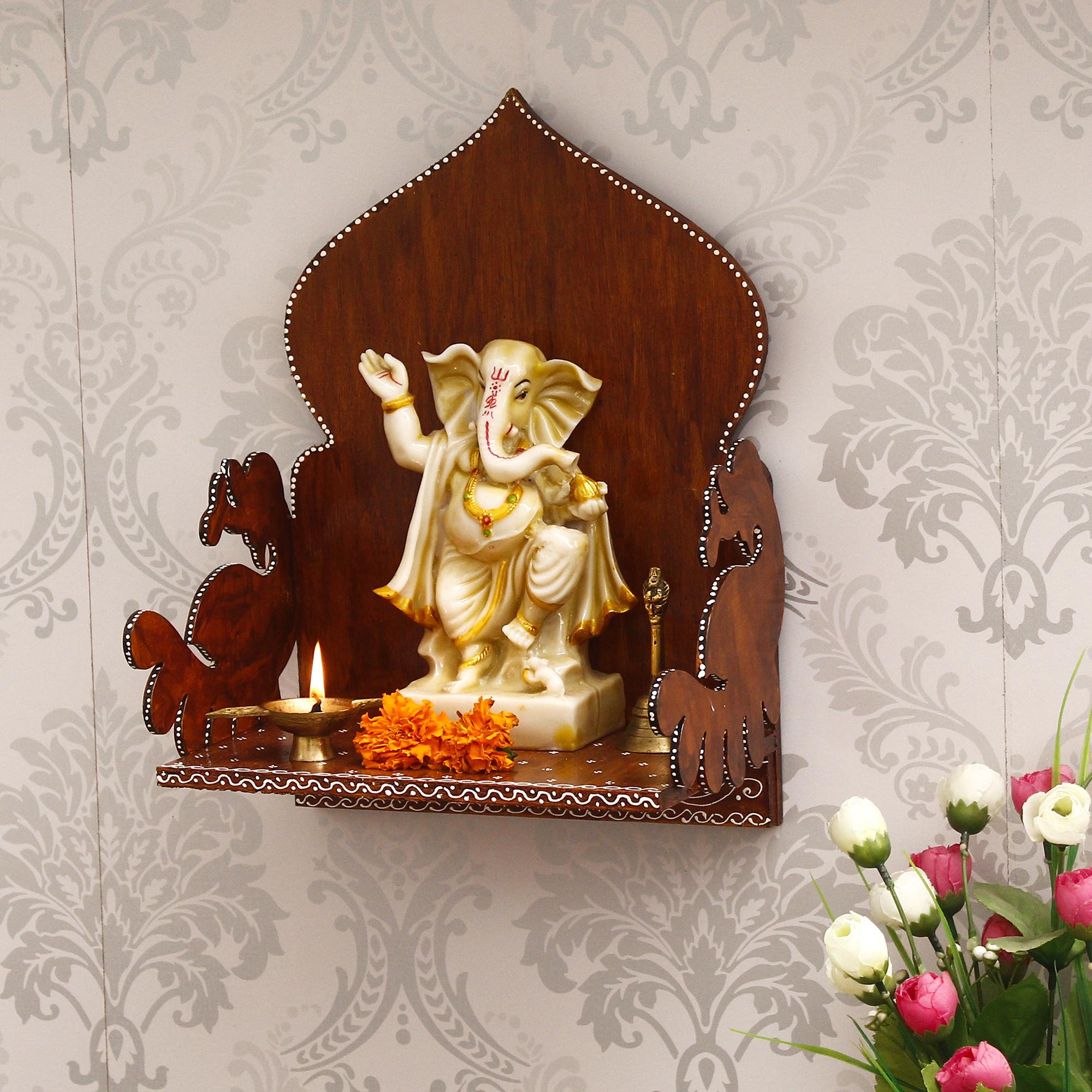 Brown MDF Pooja Temple/Mandir Indian Home Decor