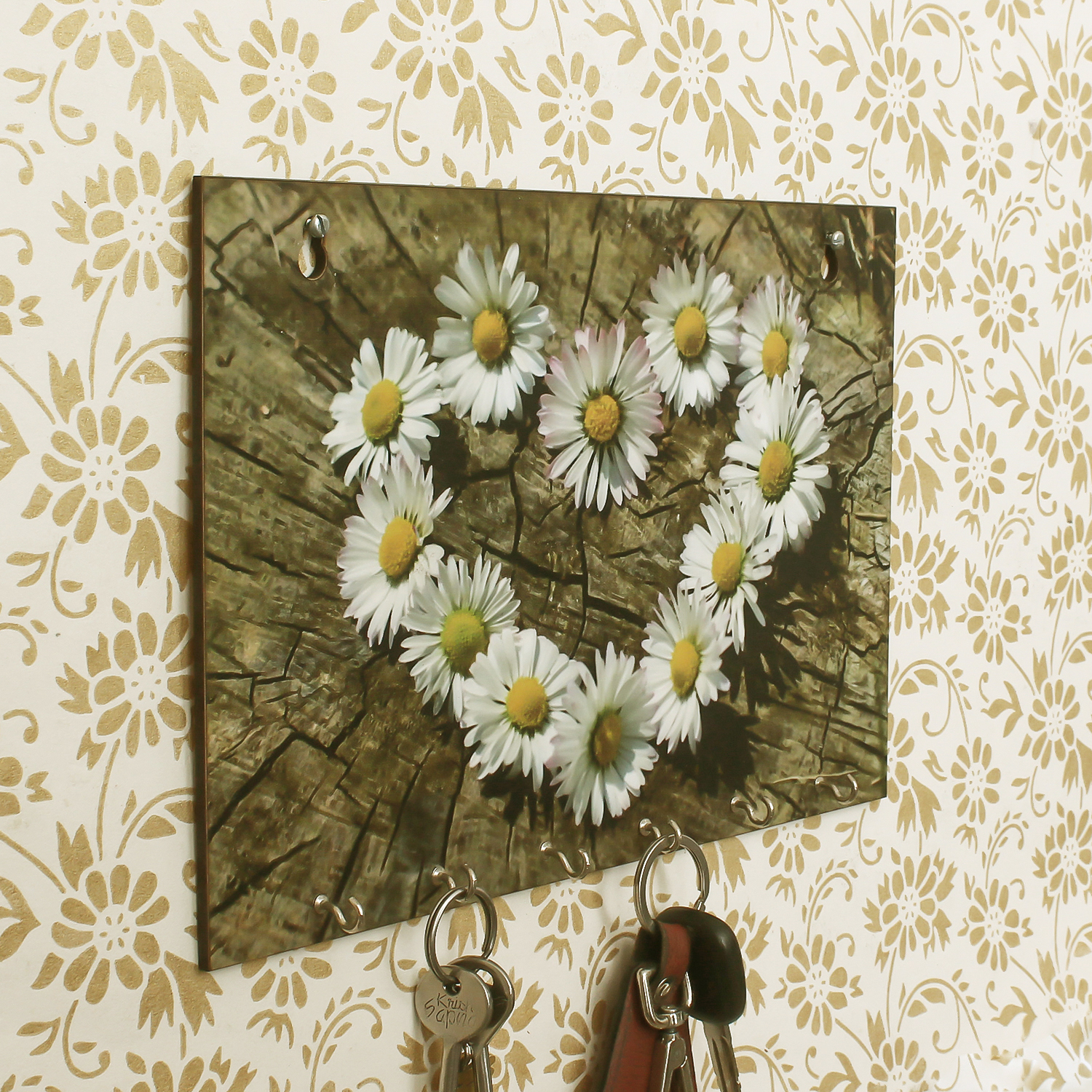 Floral Theme Wooden Key Holder with 6 Hooks Indian Home Decor