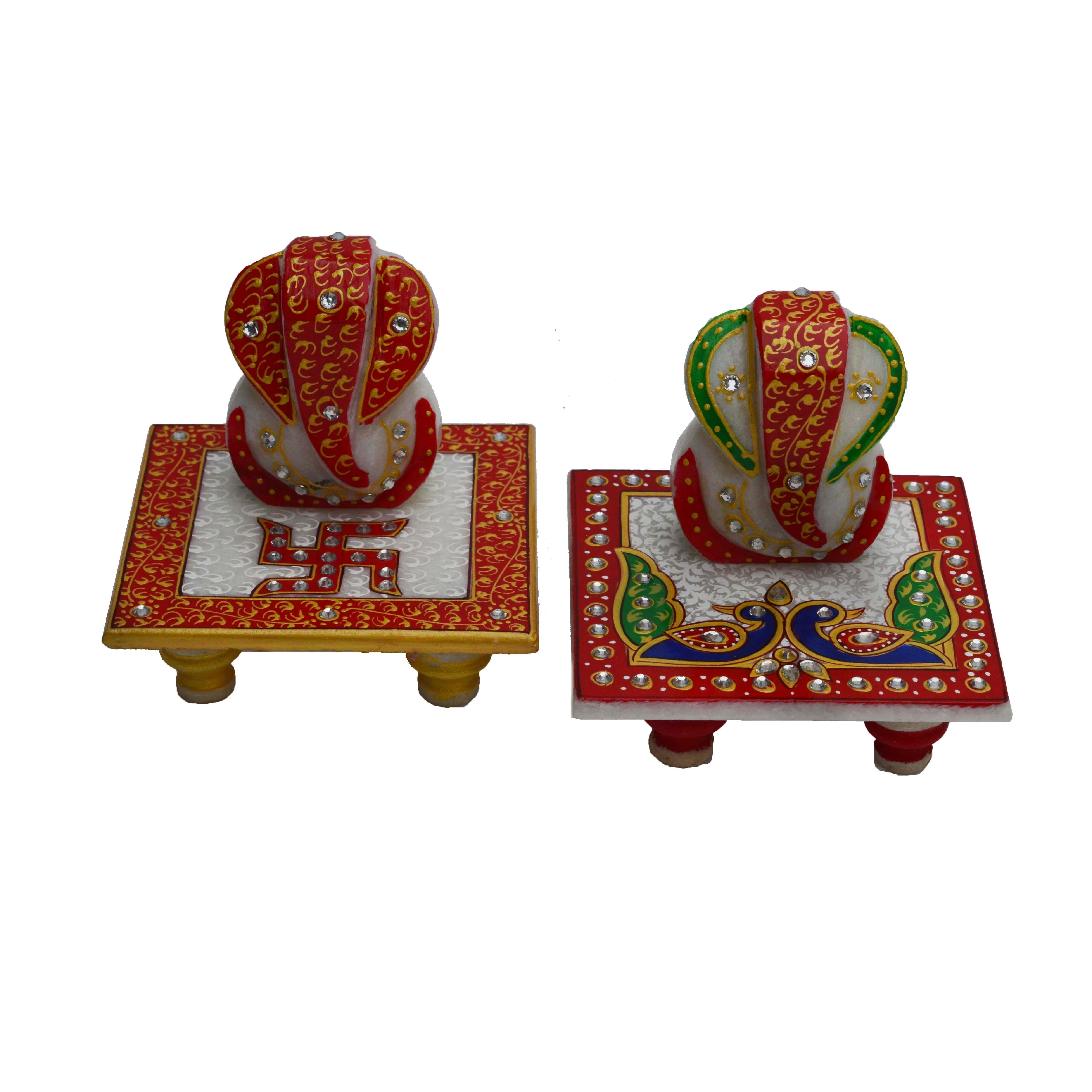 Set of 2 Marble Ganesha Chowki Indian Home Decor