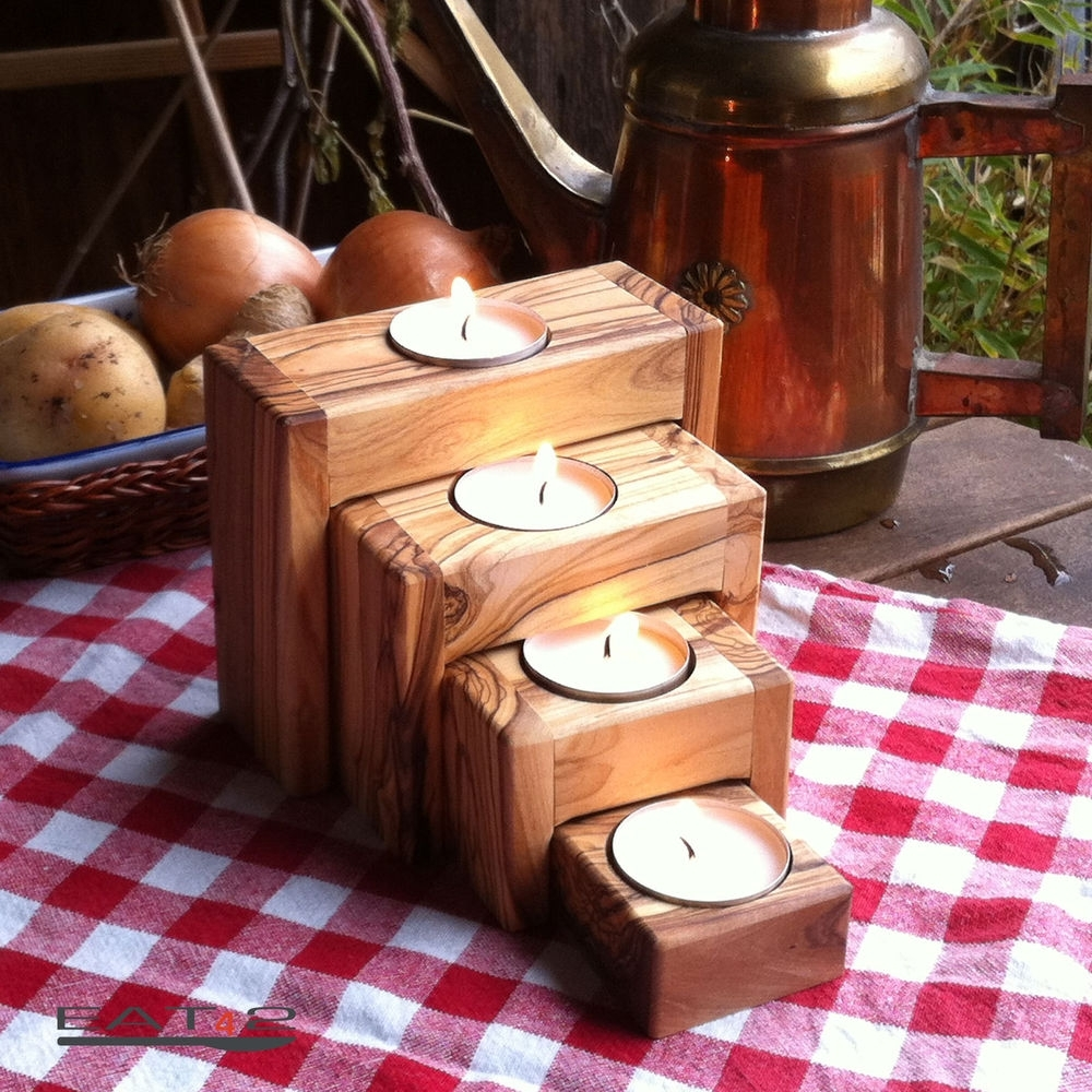 Set of 4 Rectangle Premium Wooden Nested Tea Light Holder Indian Home Decor