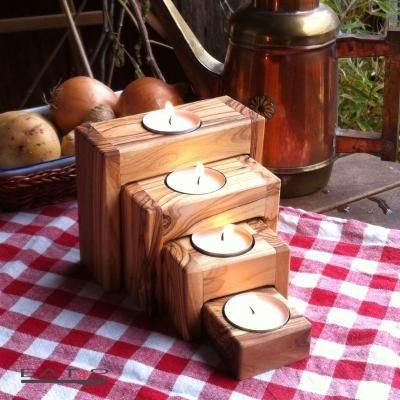 Set of 4 Rectangle Premium Wooden Nested Tea Light Holder Indian Home Decor
