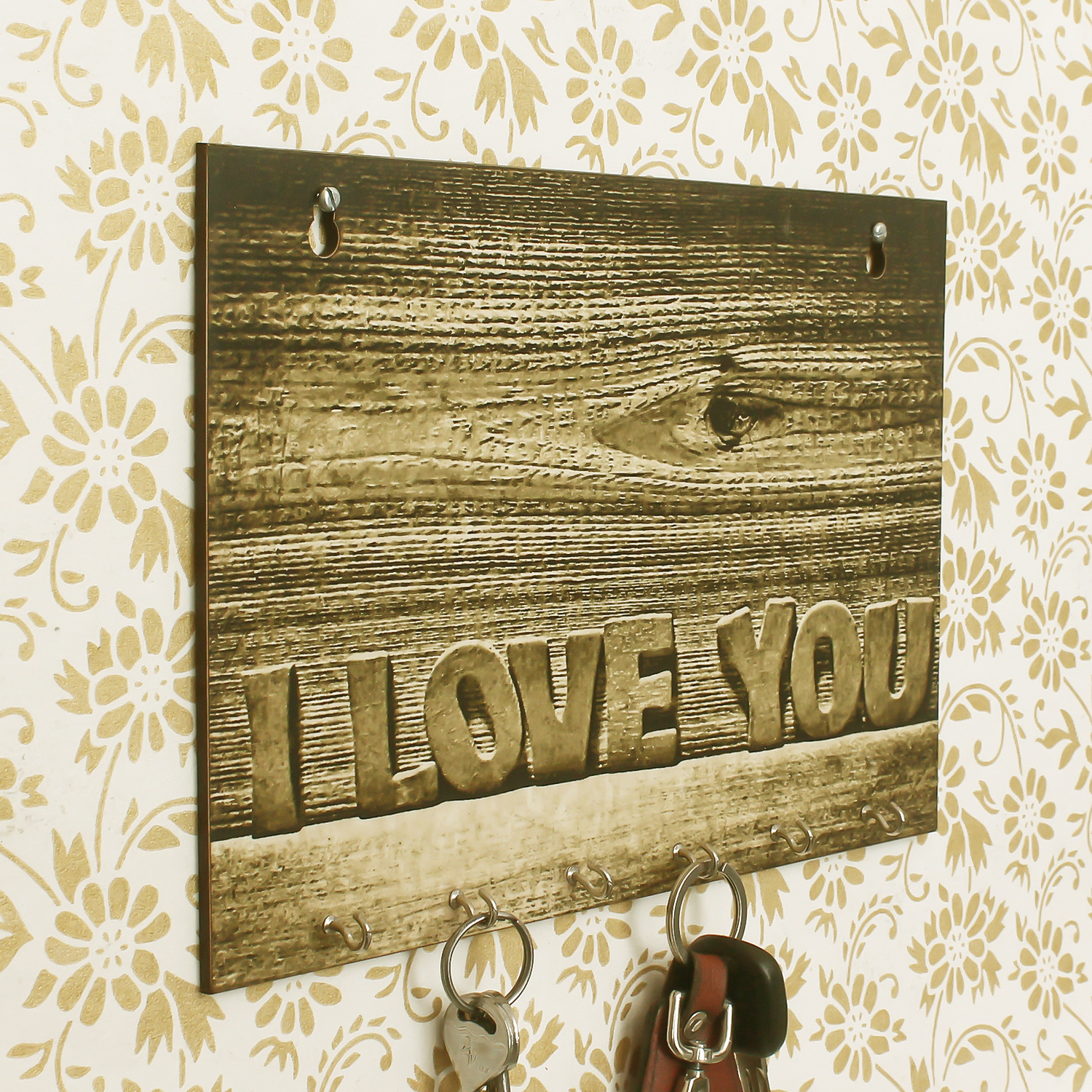 Abstract Theme Wooden Key Holder with 6 Hooks Indian Home Decor