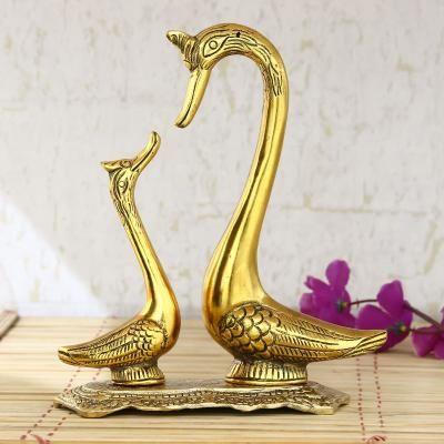 Loving Golden Swan Couple 10 Inch Decorative Metal Figurine Indian Home Decor