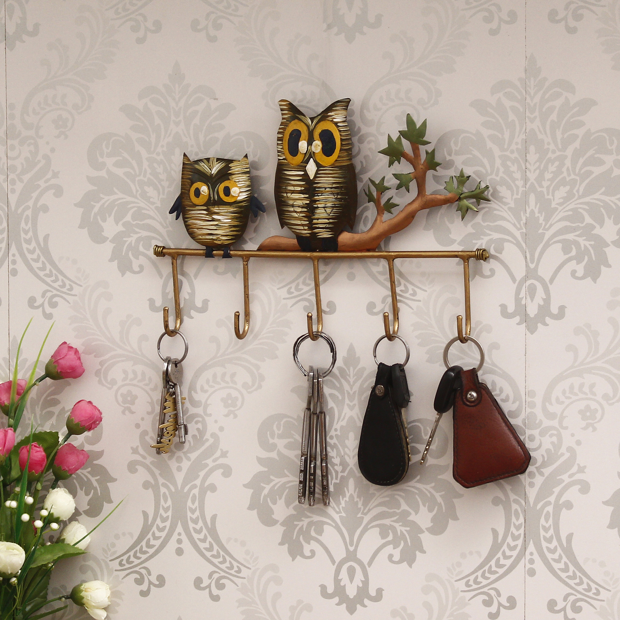 Owl Theme Colorful Tribal Art 5 Hooks Iron Key Holder Indian Home Decor