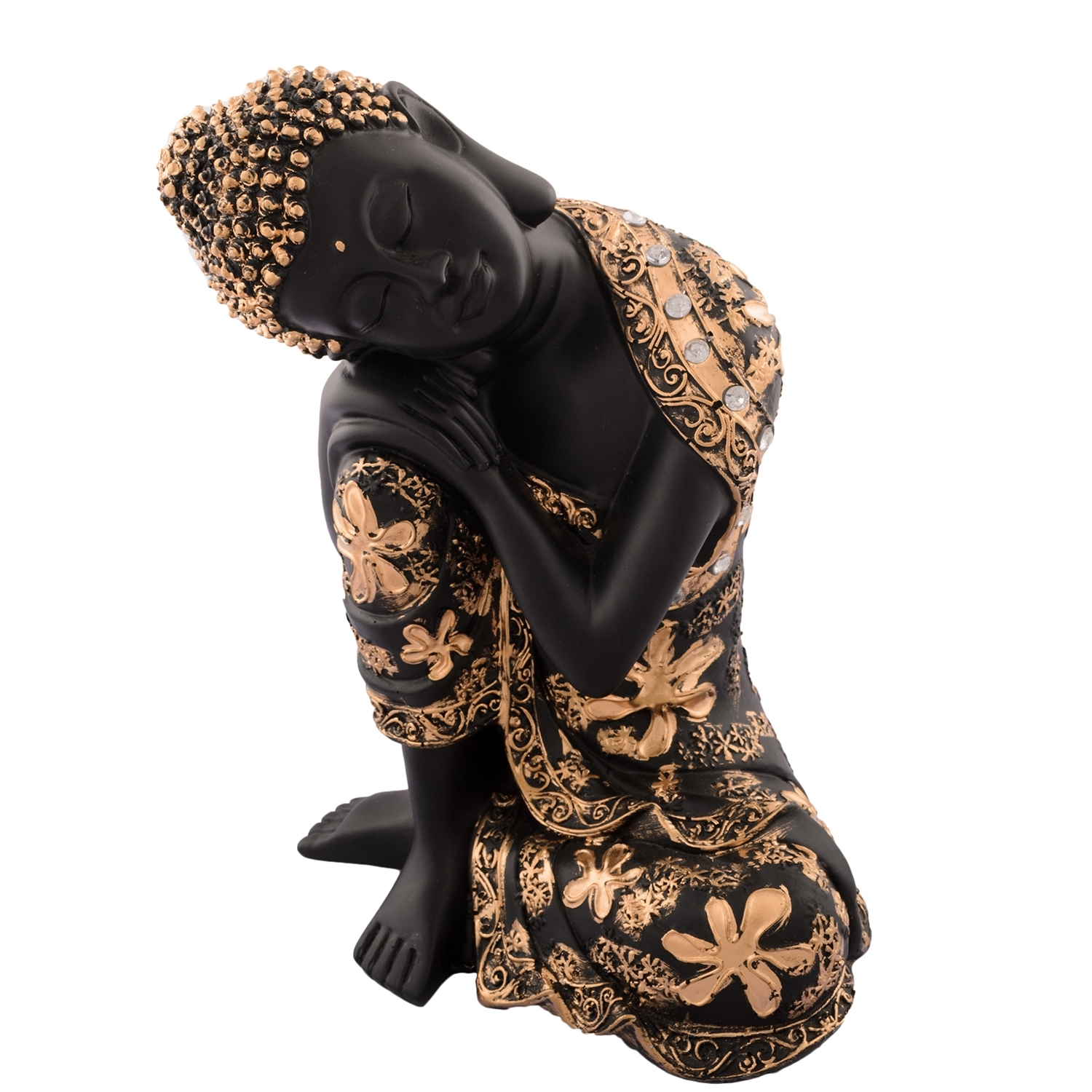 Pleasing Buddha on Knee Polyresin Showpiece Indian Home Decor