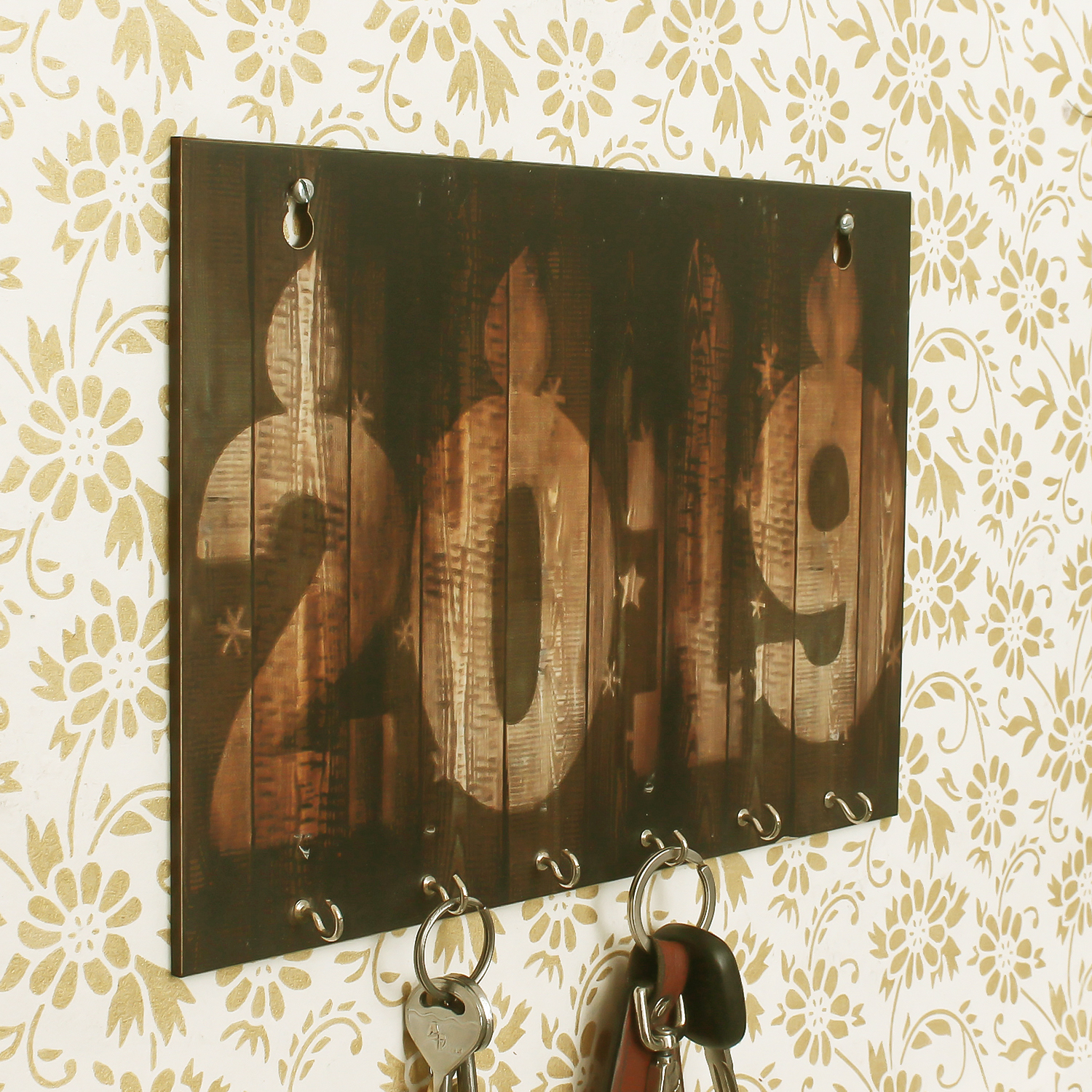 2019 Theme Wooden Key Holder with 6 Hooks Indian Home Decor