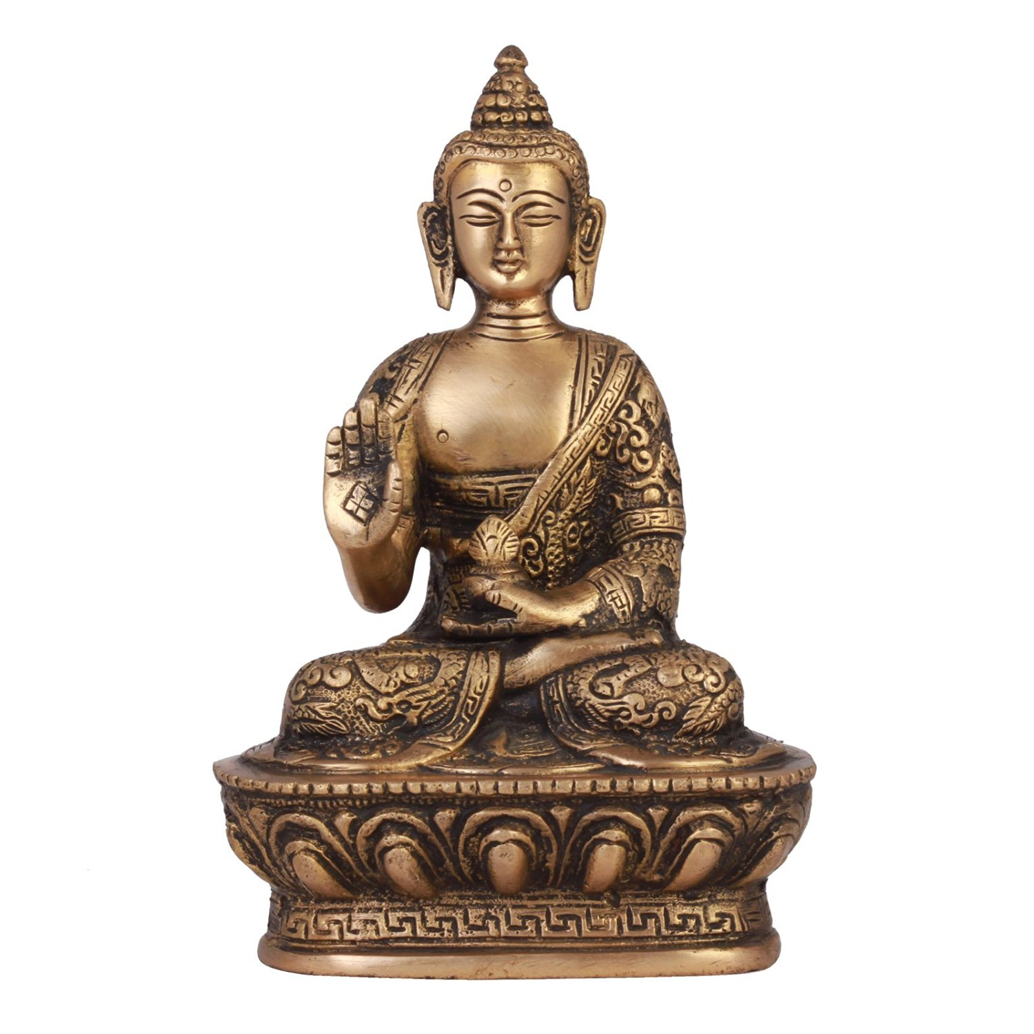 Brass Premium Meditating Buddha Figurine Indian Home Decor
