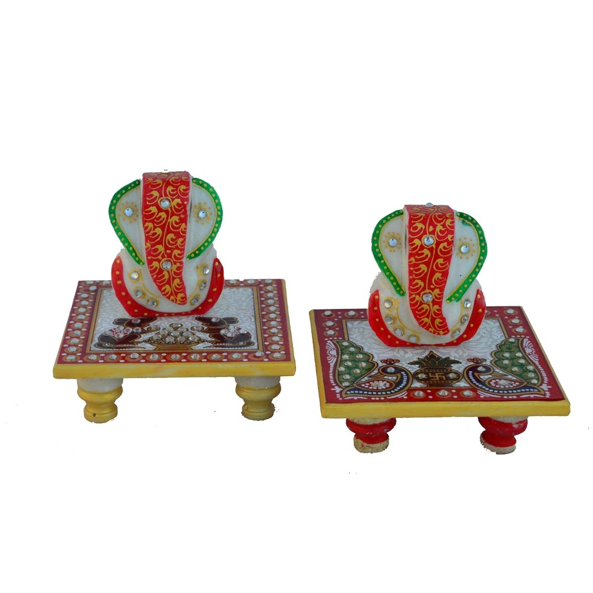 Combo of 2 Ganesha Chowkis Indian Home Decor