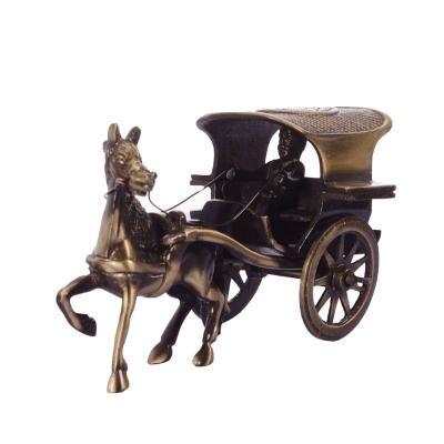 Antique Finish Brass European Horse Cart Indian Home Decor