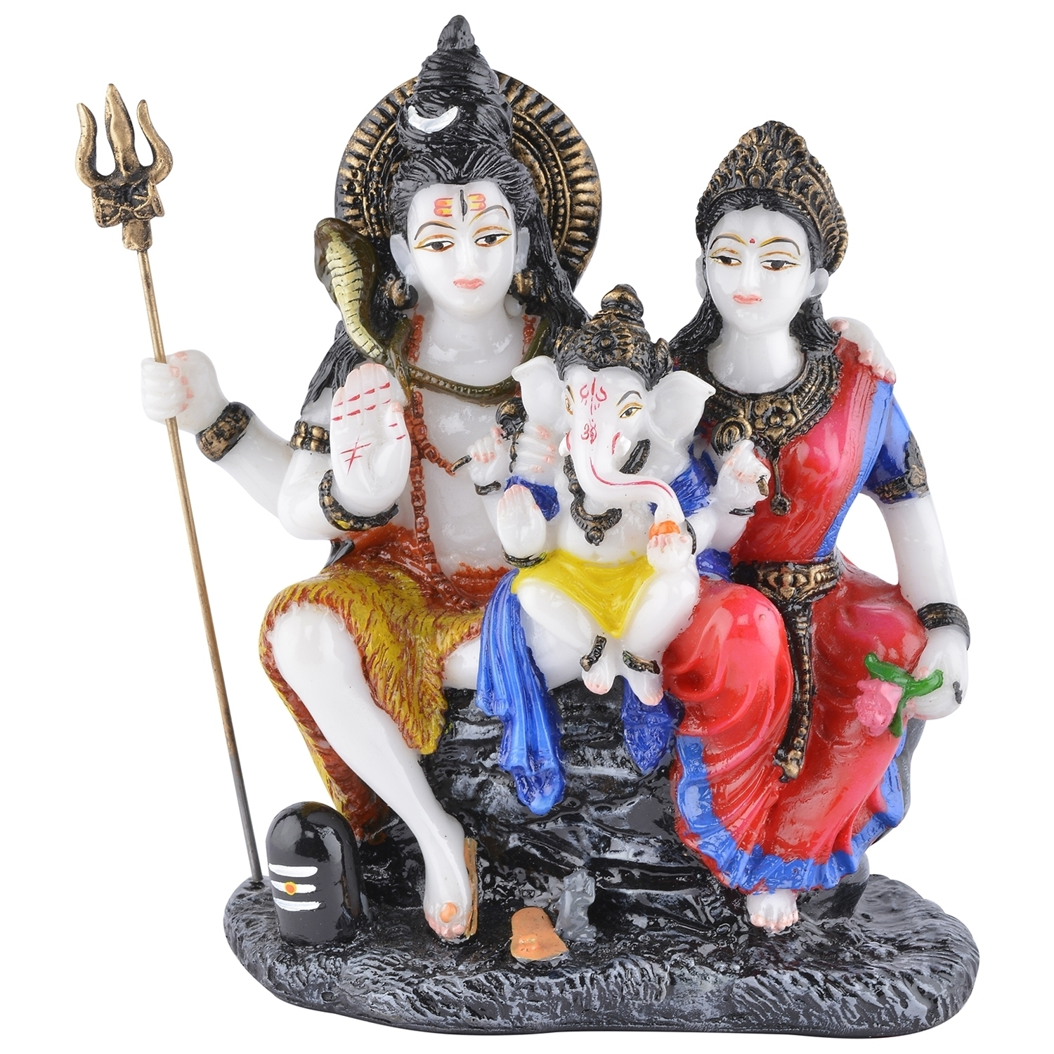 Decorative Blessing Lord Shiva, Goddess Parvati and Lord Ganesha Showpiece Indian Home Decor