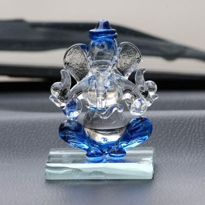 Blue and Transparent Double Sided Crystal Car Ganesha Showpiece Indian Home Decor