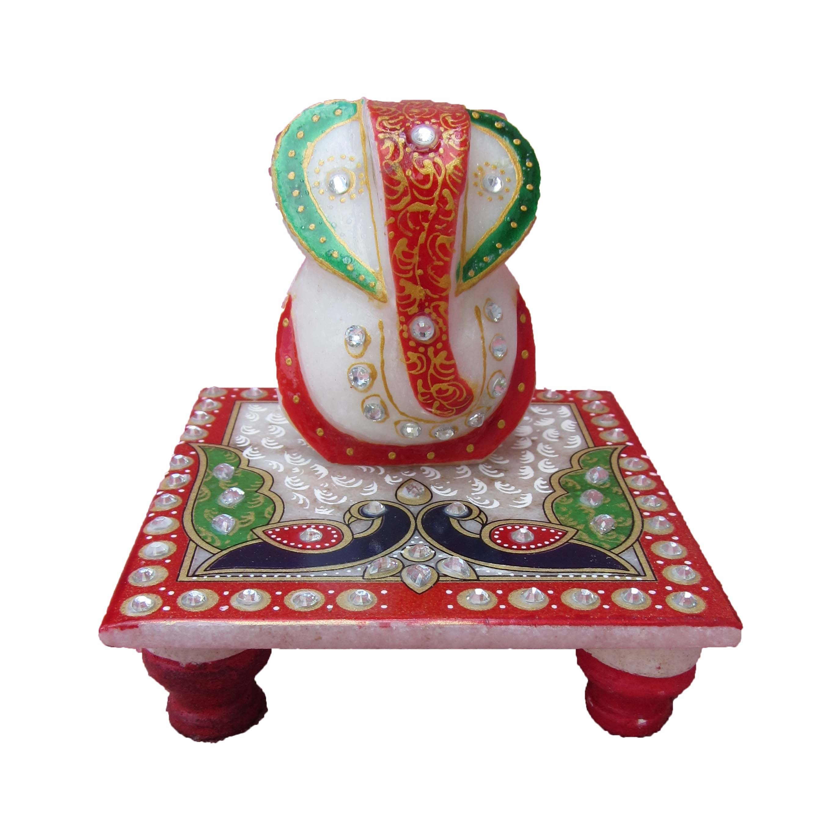 Lord Ganesha with Peacock on Chowki Indian Home Decor