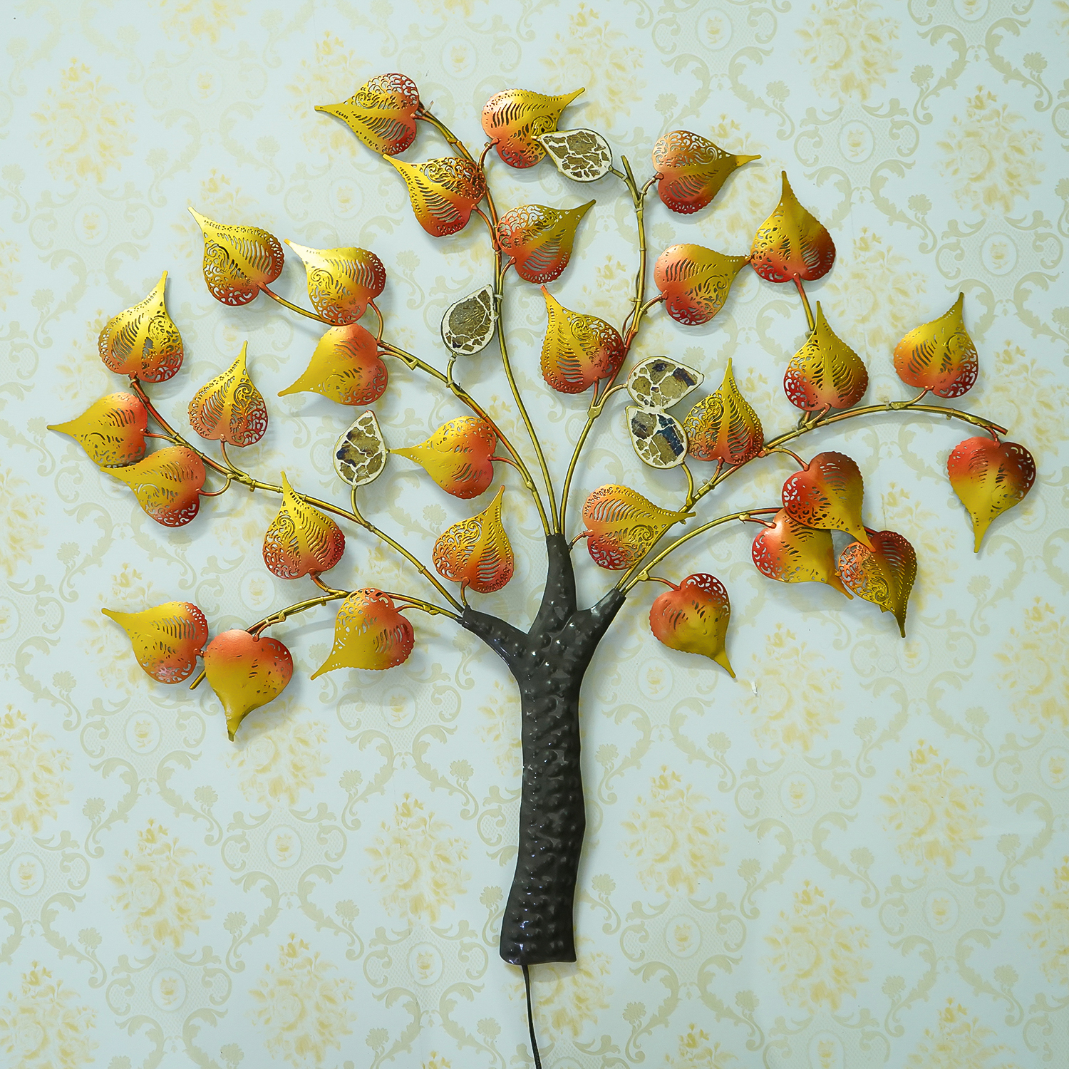 Colorful Leaves Tree Handcrafted Iron Wall Hanging with background LEDs Indian Home Decor