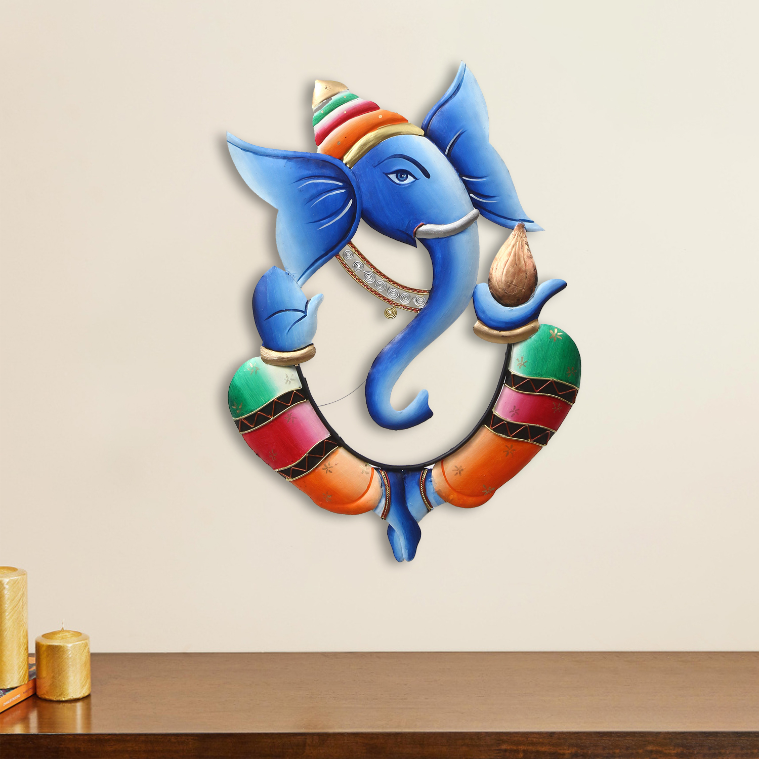 Colorful Lord Ganesha with Kalash in Hand Handcrafted Decorative Iron Wall Hanging Indian Home Decor