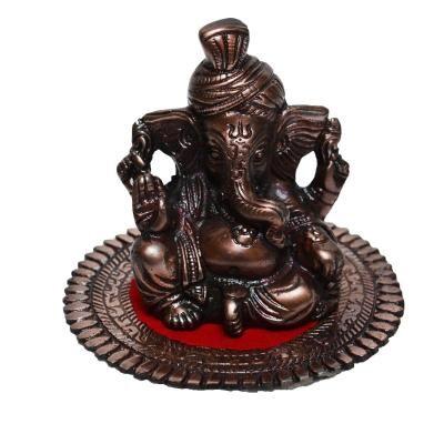 Metal Pagdi Lord Ganesha on Round Base - Brown Indian Home Decor