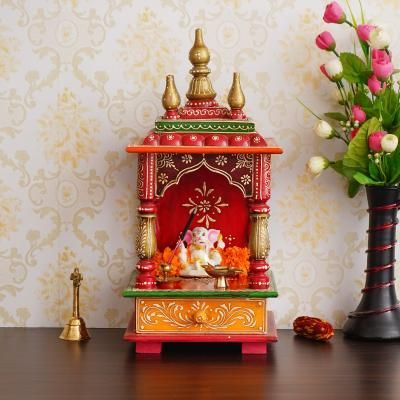 Red and Orange Mango Wood Pooja Temple/Mandir with Storage Option Indian Home Decor